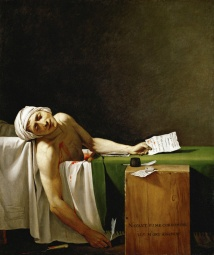 Jacques-Louis David, 'La mort de Marat (1793). David, a staunch pro-revolutionary, depicts Marat as a martyr.