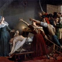 "Jean Joseph Weerts, ""L'Assassinat de Marat"" (1880). Assassin Charlotte Corday is seemingly a vitreous national servant facing the mob rule."