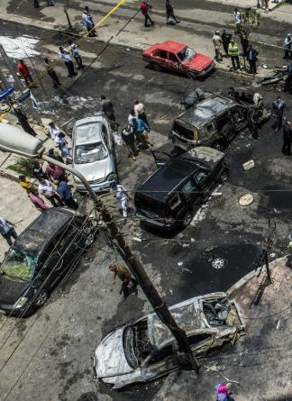 Site of the car bombing that killed Barakat